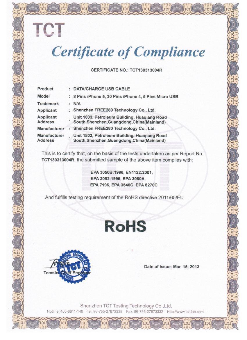 Shenzhen free280 technology co ltd usb cablephone case certificate xflitez Images