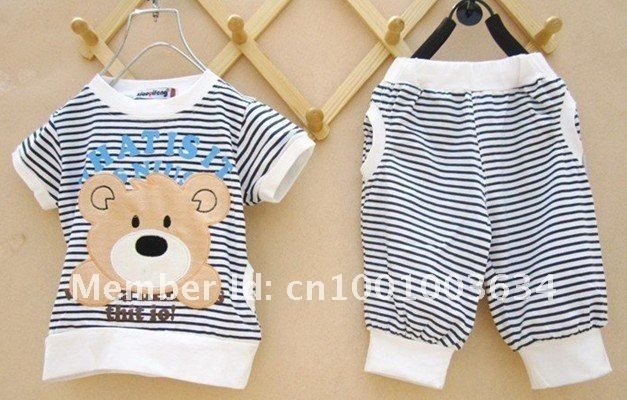 Free Shipping!Wholesale 4 sets 100% cotton knitted children's suits / Winnie the striped T-shirt + stripes pants color brown
