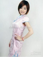 Chinese classical dress pink cotton mini short cheongsam cultivate fashion Qipao QP838