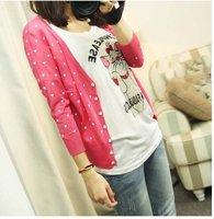 Женский кардиган Factory Directly New Autumn women's Heart-shaped Printed long Sleeve cardigan sweater /kintted sweater WS-006