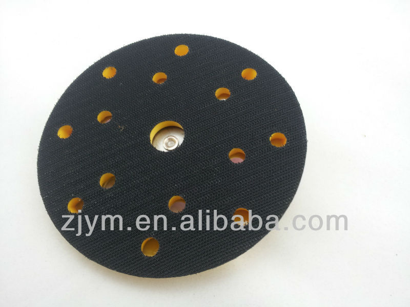 "6"" multi holes velcro backing plate pad with 5/16""-24 thread. high speed velcro pad"
