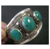 Мужской браслет Beautiful Tibetan Silver Green Jade Cuff BraceletG