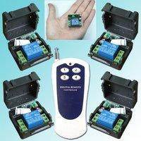 Дистанционный выключатель 1CH RF Wireless Radio Remote Contorl Switch System, 4 Receivers, Lamp Electric Equipment Power Switch, Voltage DC12V, Toggle Mode