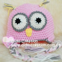 "Шапка для девочек Holiday Sale H05C035C1 Handmade Crochet Baby Toddler Children's animal Owl hat beanie cotton size 16""-20.5"