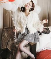 Wholesale Free shipping Drop Shipping 2013 NEW Faux Rabbit hair Fur Coat Noble White RG1211729