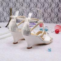 белый слоновой кости атласа женщин Свадебные обувь сандалии клин пятки в летние размер 34 ~ 42
