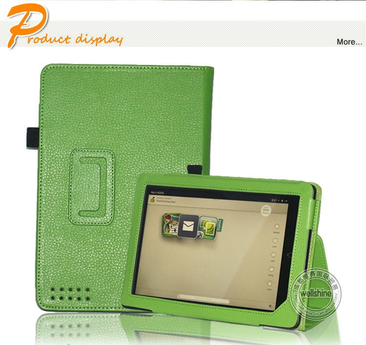 New Arrival Lithi Pattern Book Style Leather Folio Case For Nook 8.9