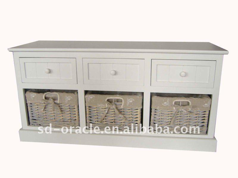Meubles de maison meubles en rotin coffret en bois avec - Meuble de rangement avec panier en osier ...