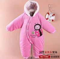 Зимняя одежда для девочек Baby coveralls thick coat, velvet coat, hooded cotton climbing clothes, down jacket