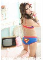 Комплект нижнего белья OUT OF STOCK Sexy Woman Cartoon Superman Bikinil Lingerie Bra Set with Panties 203AU