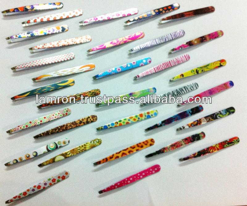 Fancy Color Stainless Steel Slanted Tip Eyebrow Tweezers