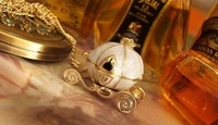 Min.order is $10 (mix order).New Cinderella pumpkin carriage alloy chain necklace pendant / sweater!X00012