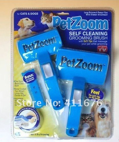 Free shipping PET ZOOM petzoom Dog Cat Grooming Brush & Trimmer As Seen On TV,1 SET=2PCS