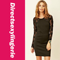 New arrival Fashionable Black Long Lace Sleeves Dress   LC2620 girl shirt