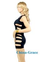 Сексуальная ночная сорочка Hot Sexy Black One Shoulder Halter Mini Hole Lingeries Dress, Fashion Design Sleepwear 160-XY