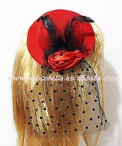 Red Hat clipe com penas pretas e rosa vermelha e preta bolinhas net H121