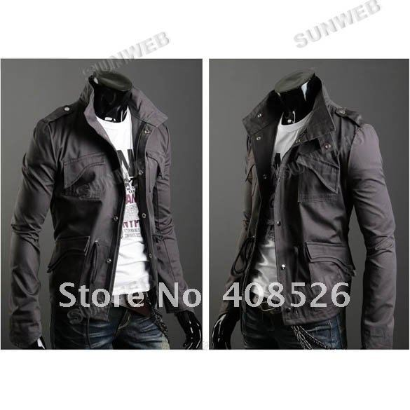 2012 fashion New arrival Men's Casual Stylish Slim Fit Zip Coat Jacket  Cotton Blends Dark Gray M~XXL 3393