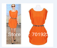 Женское платье 2013 NEW HOT SALE CREW NECK SLEEVELESS BUTTON ON SHOULDER TUNIC DRESS WITH BELT BLACK GREEN ORANGE Y2669