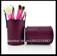 2012 Hot sell blue colore   7Pcs Professional Makeup Cosmetic Brush Set Kit Tool With cylinder box have 4 colore