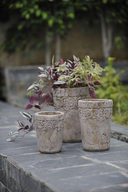 Rustic style concrete flower pots