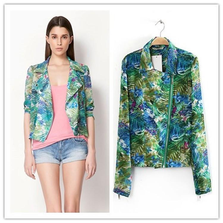 Женская куртка NEW Women Tropical Printed Jacket Coat Top With Zipper Q0237
