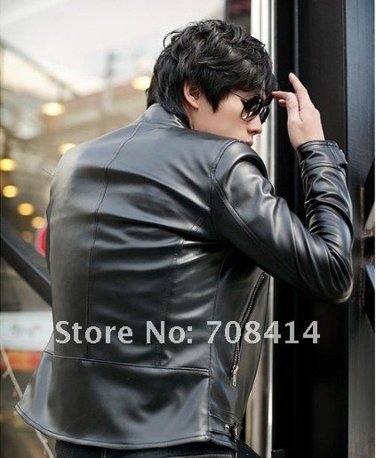 men'sleather jacket Korean catwalks shall Slim leather jacket PU (black, brown) WM0010 (Drop shipping support!)