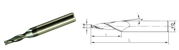 2-4 FLUTE END MILL WITH TAPER
