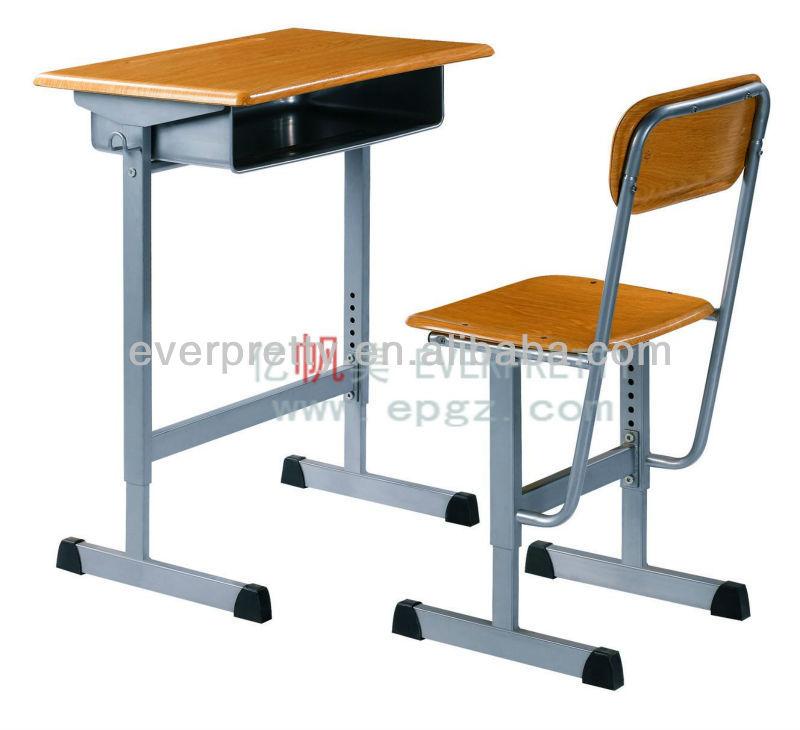 Adjustable school single desk and chair set,adjustable students desk,Height adjustable desk with wooden top
