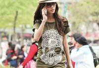 Brand New skull pattern back shoulder lace shirt, sexy T shirt  Women clothing lady dress L9061