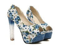 Туфли на высоком каблуке rhinestone Peep toe floral women platform pumps, high heels, summer shoes, her shoes sapatos femininos #15