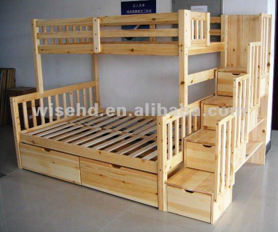 Wjz b55 s lido de madera de pino queen size camas literas for Cama queen de madera