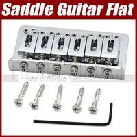 New Quality 7.5CM 75mm Chrome 6 Saddle Hardtail Guitar Bridge Flat Top Load #3102