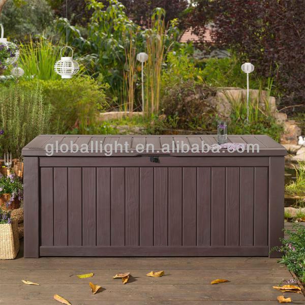 Wood Style Deck Box Storage Box Outdoor Indoor bench