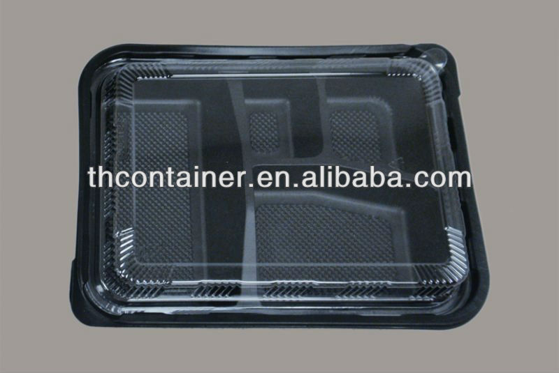 disposable commercial plastic black compartments food container