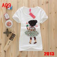 Корейская мода девушки напечатаны выращивание хлопка в весенние и летние девушки майку футболку