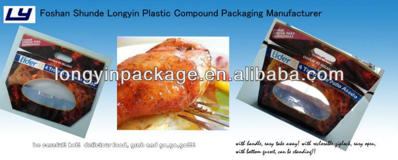 hot chicken bag/plastic bag for hot food with slide zipper