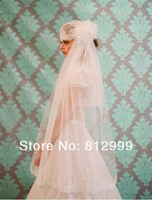 Свадебная фата 1T Ivory Lace Cap Bridal Wedding Veil Lace FLOWERS Short Veils Sof polka dot Tulle Bridal Head Pieces Bridal Fascinator Mesh
