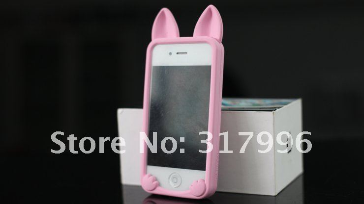 Free shipping koko long ear cat 3d silicone case for iphone 4,iphone 4s