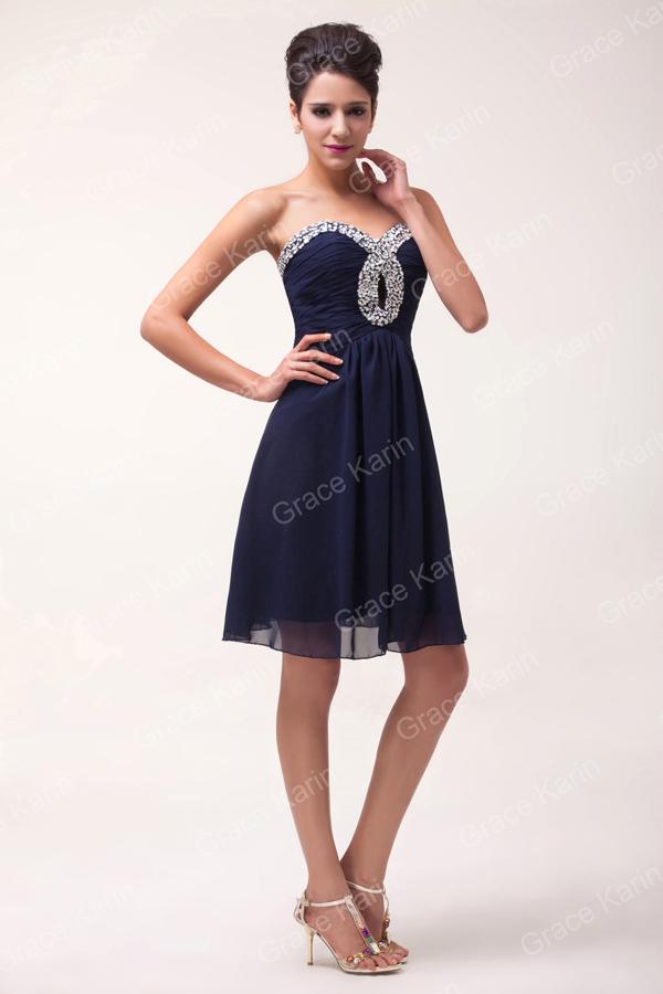 Грейс карин коктейльные платья 2016 милая одеяние де вечер Courte бусины без бретелек шифон короткие темно-синий формальные ну вечеринку платье