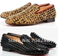 Женские мокасины Brand Rolling Spikes leopard shoes woman shoes high heels loafer flats