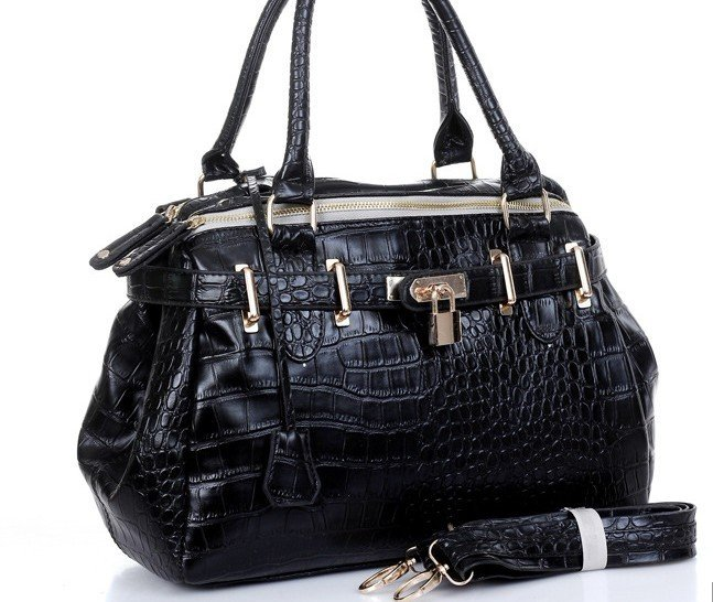 2012 new arrival Europe OL style women fashion Crocodile pattern leather wristlets handbag shoulder bag Free shipping