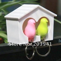 Free shipping! New  cute couple sparrow key ring with whistle/bird's nest hang on the wall / 2birds per set / wholesale