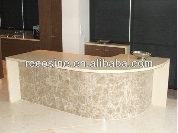 600*600 Composite stones kitchen benchtop white flamed finish granite Marble