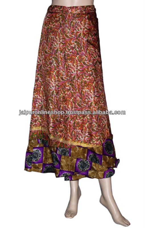 Floral Print Silk Sari Reversible two Layer long Wrap round Skirt Jaipur India