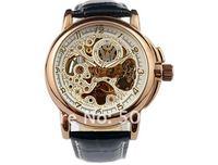 Freies Verschiffen & Silber Skelett Zifferblatt automatische mechanische Schweizer Uhr Wasserdicht Geschenk