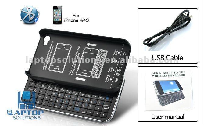 Hard case para iPhone 4 / 4S com bluetooth sem fio teclado deslizante QWERTY