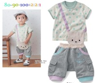 Комплект одежды для девочек 1PC Retail! 100% cotton Cubs short-sleeved T-shirt Little Star + Gray PP pants suit 0-2 years of casual clothes