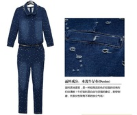 Женский комбинезон 2013 Spring Peter Pan Collar 3-quarter Sleeve Hole Demin Overalls Jumpsuit for Women