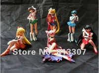 Фигурка героя мультфильма High Quality Anime Sailor Moon Cartoon PVC Figure Toy 6 pcs set