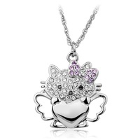 Holiday sale T400 hello kitty angel heart crystal pendant necklace,for women #W1001, retail & wholesale free shipping